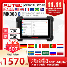 Autel maxicom MK908 OBD2スキャナー車診断ツールobdii oeレベルの双方向制御キープログラマーコードリーダーpk MK808
