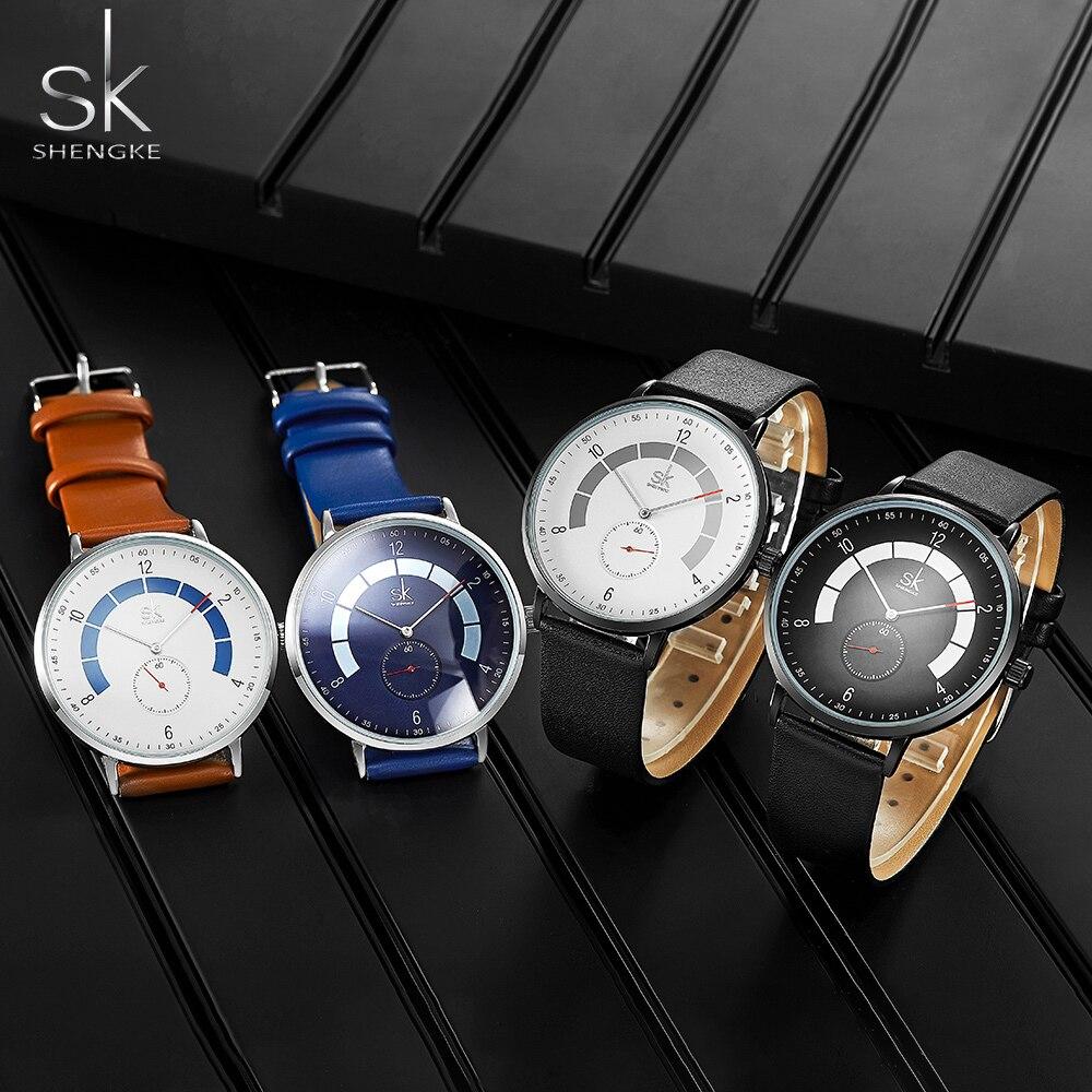 Shengke Men Watches Brand Men's Causal Waterproof Quartz Watch Leather Male Fashion Sport Wristwatch Relogio Masculino