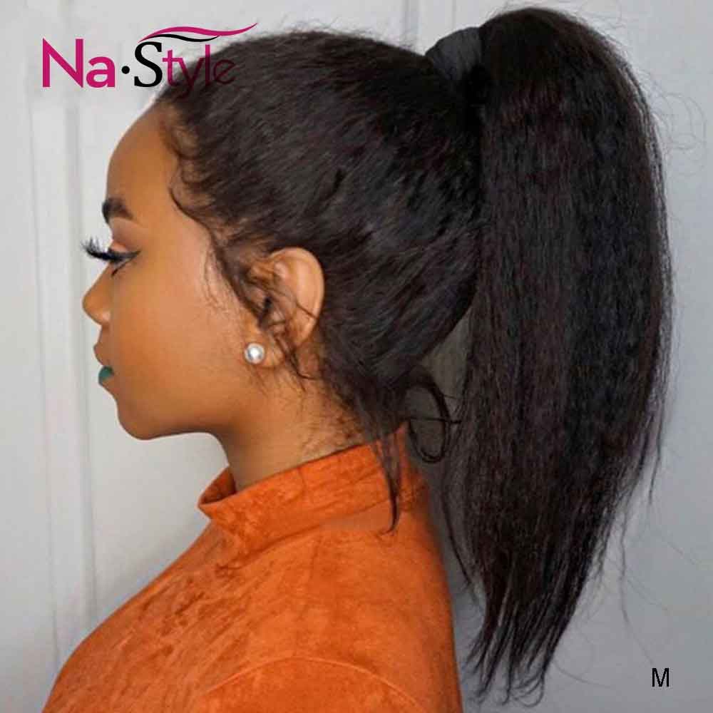 Kinky Straight Wig Lace Wig 360 Lace Frontal Wig Pre Plucked With Baby Hair Brazilian Yaki Human Hair Wigs For Black Women