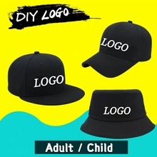 DIY Logo Baseball cap Flat Cap Custom-made Hip Hop Child&Adult Printing Embroidery Brand Sport Bucket Hat High-quality Snapback