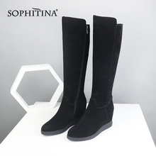 SOPHITINA Sexy Pointed Toe Boots High Quality Genuine Leather Comfortable Wedges Solis Womens Shoes Fashion Design SO288