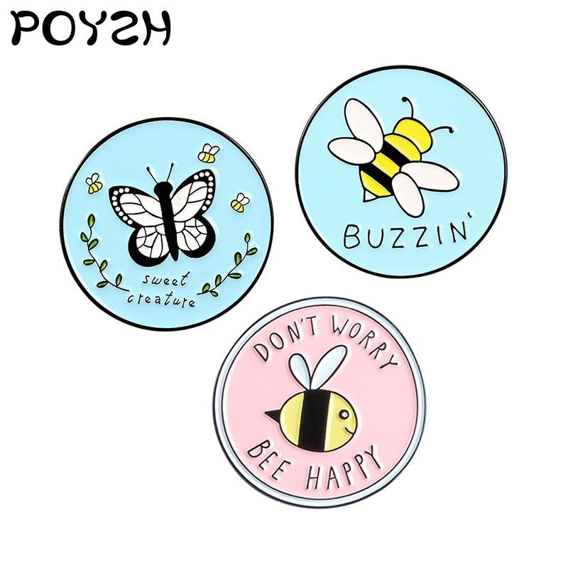 Doce feliz criatura esmalte broche borboleta abelha inseto lapela pino redondo amarelo abelha dos desenhos animados bonito emblema jóias presentes amigos
