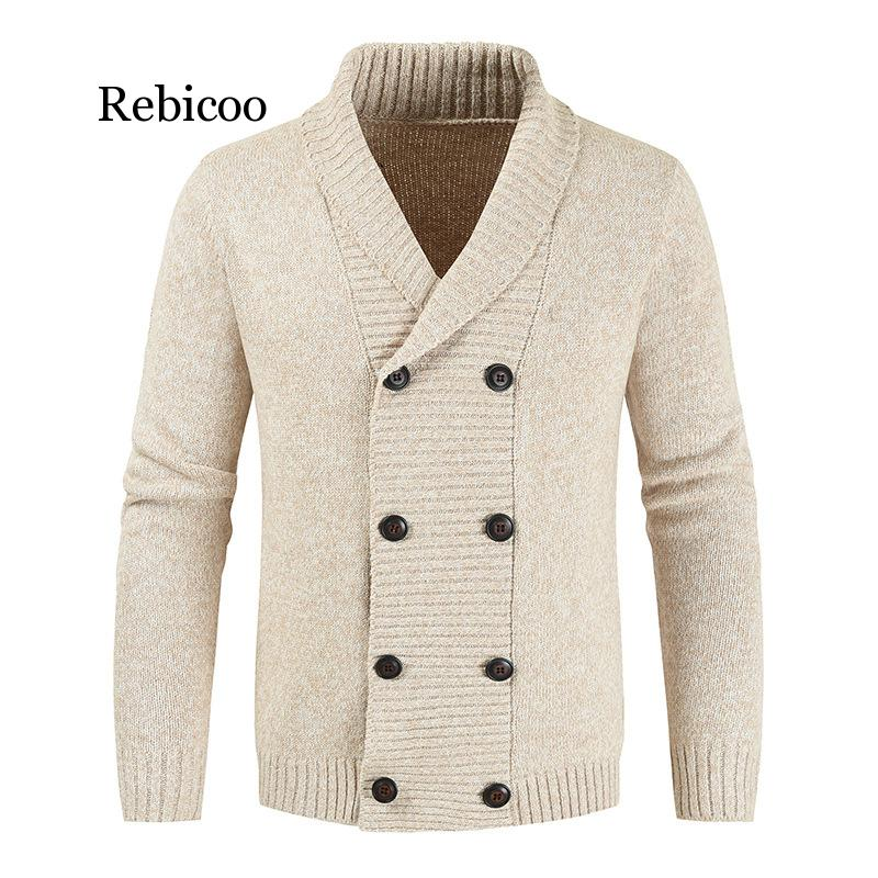 Men's Winter Wool Cardigan Sweater Double Breasted Cashmere V Neck Sweater Men Large Size Long Cardigan Men Pull Homme 2019