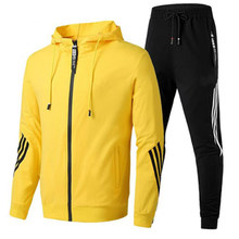 2021 Autumn Winter Plus Size 3XL Men Striped Tracksuit Hooded Jogger Running Suit Outdoor Sport Wear Fitness 2 Piece Sports Set