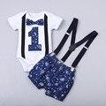 Одежда для новорожденных мальчиков джентльменов, шорты на бретелях для детей в возрасте одного года, одежда для детского костюма