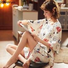 Pajama Sets Shorts Women 3XL Summer Printed Korean Style Loo
