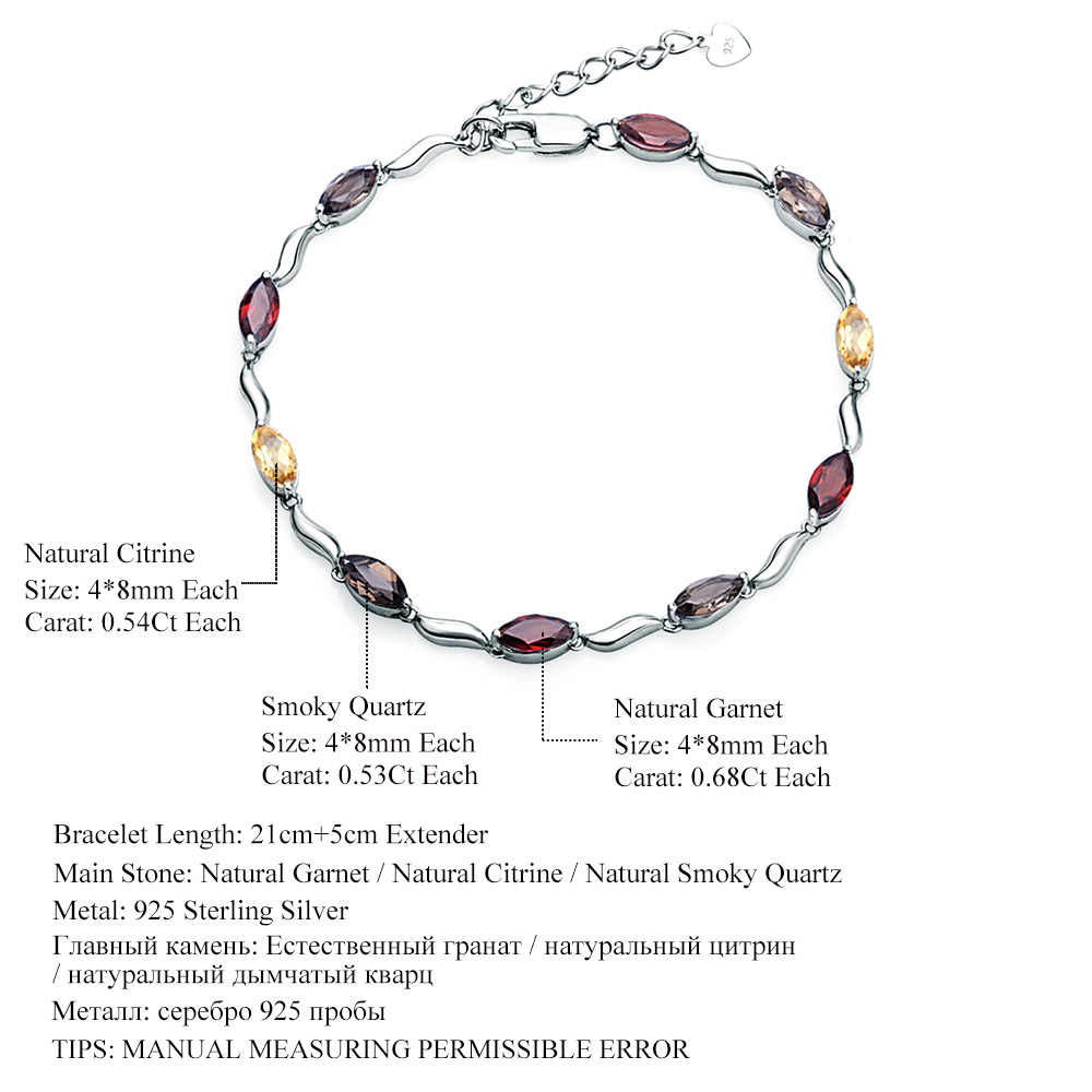 Natural citrine faceted fancy stone 925 sterling silver adjustable bracelet