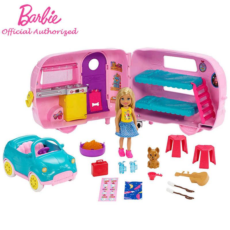 Подлинный Барби клуб Челси серии игровой набор с куклой щенок автомобиль трансформирующий Camper аксессуары детские игрушки Барби Brinquedos FXG90