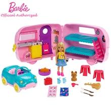 Chính hãng Barbie Câu Lạc Bộ Chelsea Series Playset Với Búp Bê Con Chó Con Xe Biến Hình Người Cắm Trại Phụ Kiện Trẻ Em Đồ Chơi Búp bê Barbie Brinquedos FXG90