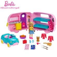 حقيقية باربي نادي تشيلسي سلسلة Playset مع دمية جرو سيارة تحويل العربة الاكسسوارات طفل لعب باربي Brinquedos FXG90