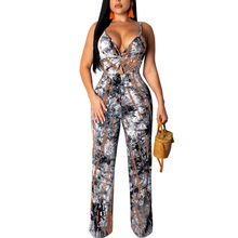 Fadzeco Women Jumpsuit Clubwear Sexy Deep V Neck Open Back Hollow Out Tie-Dye Rompers Floral High Waist Long Pants Jumpsuit