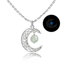 Hot Sale 100% Authentic 925 Sterling Silver Cute Chain Moon glowing Pendant Necklaces for Women 2019 Fashion Jewelry Gift