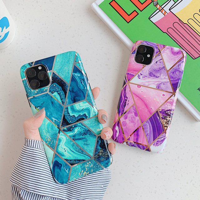 Marble Plating Case for iPhone SE (2020) 5