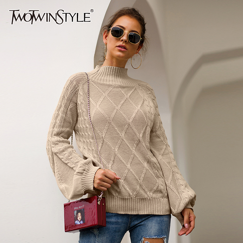 TWOTWINSTYLE Knitting Argyle Casual Women's Sweater Turtleneck Lantern Sleeve Pullovers Autumn Sweaters Female 2020 Fashion New