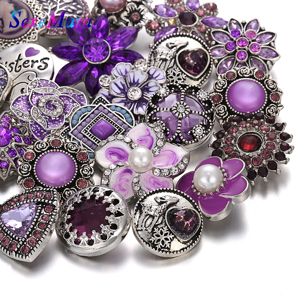 Snap Jewelry Bangle Rhinestone Metal 18mm Purple Wholesale Flower for Bracelet 10pcs/Lot title=