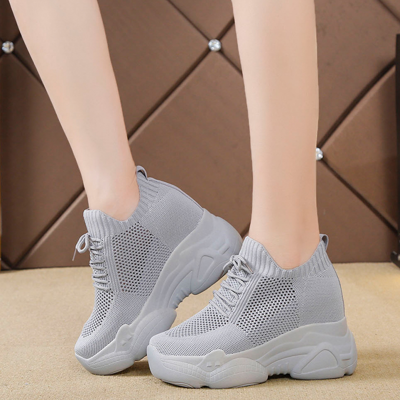 Lucyever 2020 Womens Spring Breathable Mesh Platform Shoes Woman Fashion Height Inreasing Ankle Boots Outdoor Footwear Female