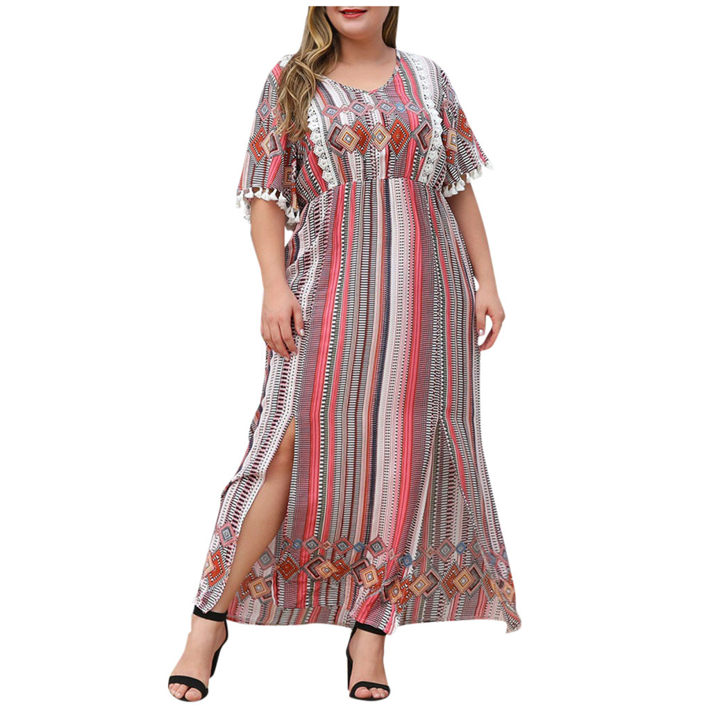 Vintage Print dress Women Autumn Winter Casual Plus Size O Neck Long Sleeve Patchwork Party Dresses Fashion High waist Sundress