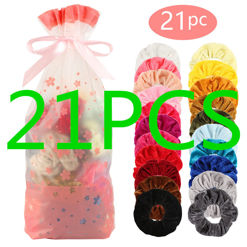 21 Pcs Vintage Hair Scrunchies Stretchy Velvet Scrunchie Pack Women Elastic Hair Bands Girl Headwear Plain Rubber Hair Ties 10.2