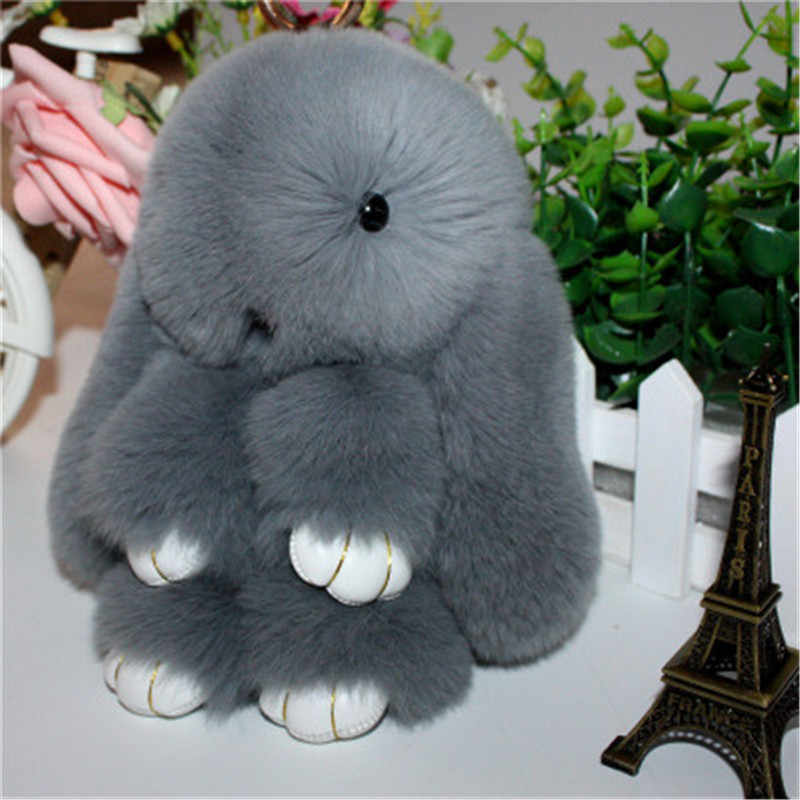 14cm Cute Plush Bunny Keychain Women Fur Pom Pom Angel Rabbit Key Ring Hare Pompom Plush Dolls Toy Girls Bag Car Key Pendant