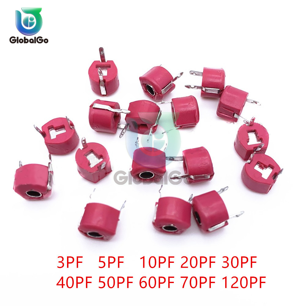 10pcs/Lot 6MM Adjustable Capacitor Assortment Kit 3pf 5pf 10pf 20pf 30pf 40pf 50pf 60pf 70pf 120pf Trimmer Variable Capacitance