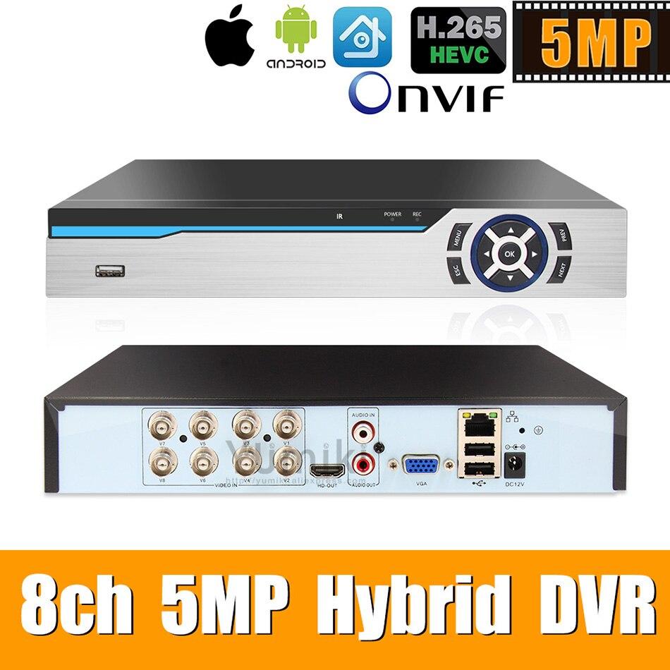 Enregistreur hybride vidéo 6 en 1 H.265 + 8ch AHD pour caméra 5MP/4MP/3MP/1080 P/720 P Xmeye Onvif P2P CCTV DVR AHD DVR prise en charge USB wifi