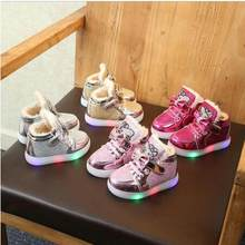 New KT Cat LED lights Kids Glowing sneakers Casual Shoes Winter Bow Fashion Children's Sports Shoes Fur Warm Baby Girls Shoes(China)