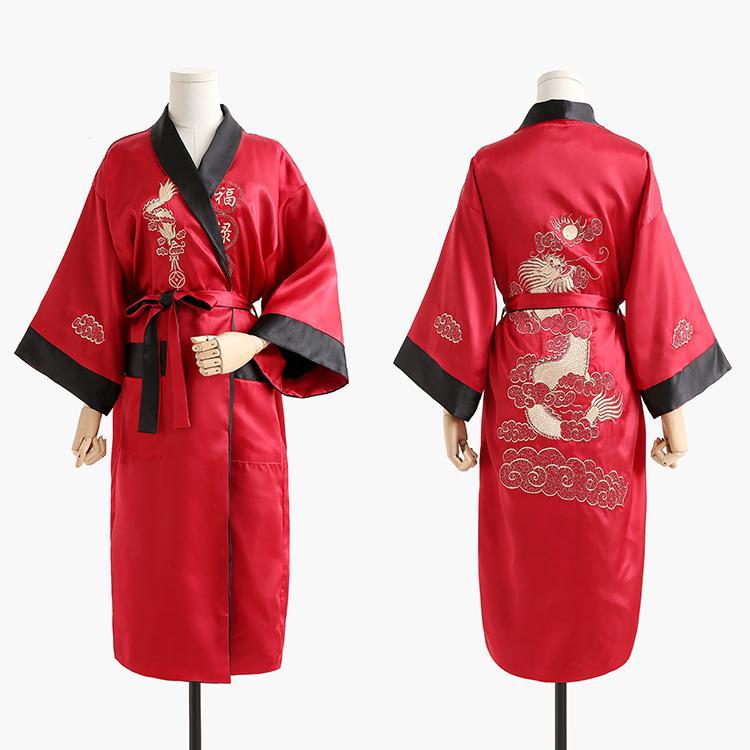 Бордовый черный Для мужчин новинка Дракон Повседневное высокое качество одежда с вышивкой свободное кимоно халат мягкие пижамы пеньюар - Цвет: Claret Black