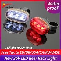 전기 자전거 LED 후면 조명 후면 랙 빛 방수 36V 전기 자전거 미등 100CM 와이어 MTB Ebike 액세서리 램프