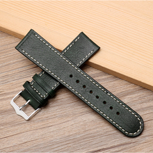 Onthelevel 20mm 22mm Watchband Leather Watch Strap Dark Green Leather Wristband Free Remove Tool Watch Accessories #D dark watch