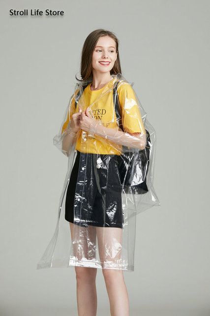 Clear Adult Raincoat Women Hiking Long Rain Coat Plastic Suit Transparent Poncho Electric Car Woman Jacket Impermeable Rain Gear 4