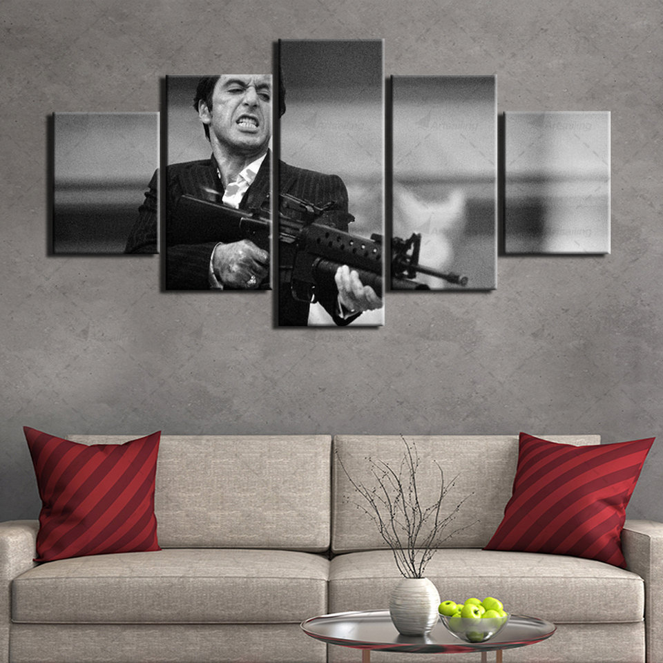 Pintura en lienzo 5 piezas Scarface Movie Hd Prints Art Posters Pintura Obra de arte Wall Art Pictures Al Pacino Poster Home Decoration size 1