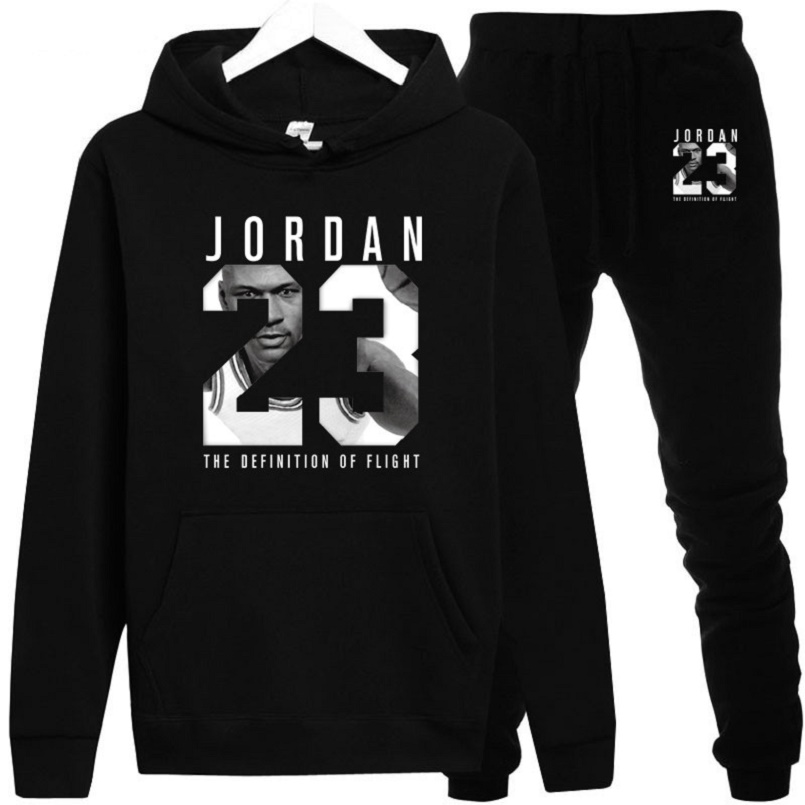 Толстовка Jordan 23 Men Hoodie + Pants Suit Brand Casual Sports Fitness Hoodies Autumn / Winter Warm Coat толстовка мужская  XXL