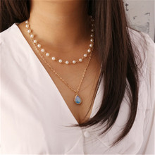 European Pearl  Blue Gem Stone Water Drop  Multilayer Pendant Necklace Female Party Fashion Jewelry Accessory цена 2017