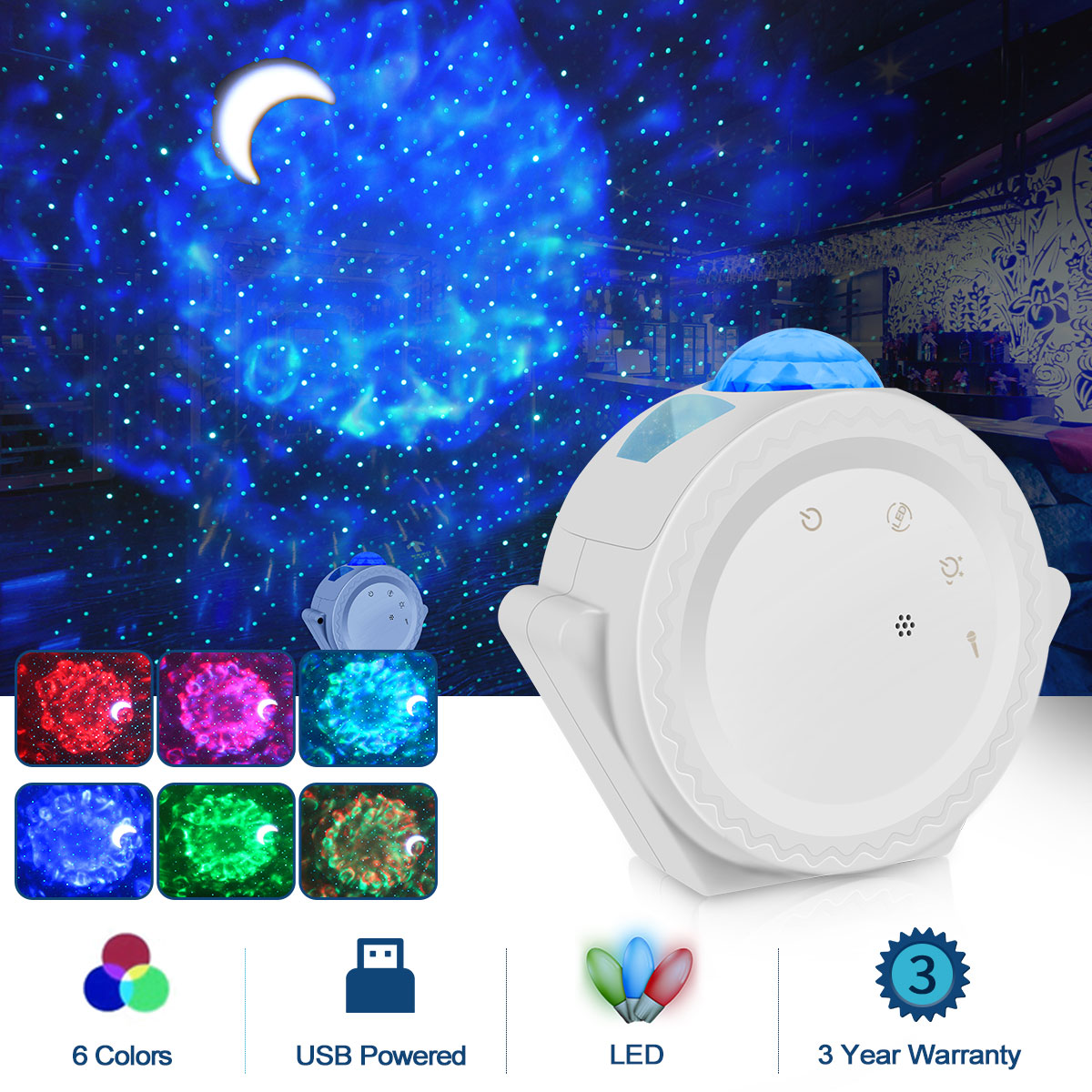Starry Sky Projector Light 360 Degree Rotation Night Light 6 Colors Ocean Waving Light For Christmas New Year Party Decoration