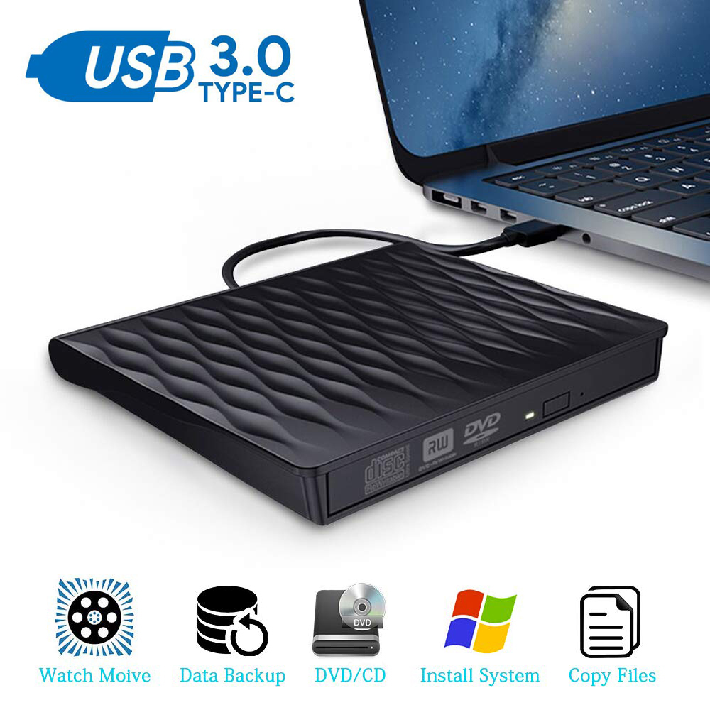 External CD <font><b>DVD</b></font> <font><b>Drive</b></font> <font><b>USB</b></font> <font><b>3.0</b></font> Type C Portable Ultra Slim CD <font><b>DVD</b></font> Rewriter Burner Writer Optical <font><b>Drive</b></font> For Windows Linux Mac OS image