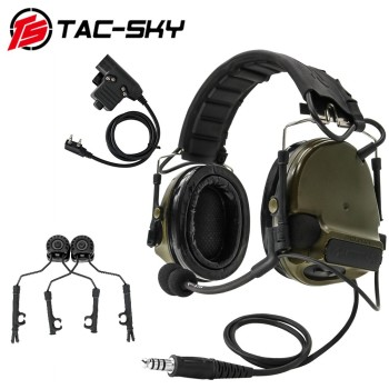 TAC-SKY new COMTAC III tactical hunting noise reduction pickup military shooting headset + ARC helmet track adapter+U94 PTT FG tac sky new comtac iii tactical hunting noise reduction pickup military shooting headset arc helmet track adapter u94 ptt fg