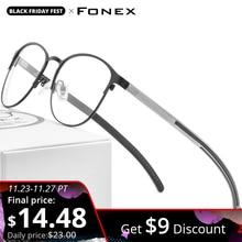 FONEX סיליקון סגסוגת אופטי משקפיים מסגרות לנשים עגול קוצר ראיה מרשם משקפיים גברים 2020 ללא בורג Eyewear 987