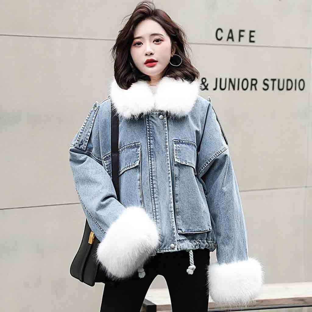 Womens Denim Thick Wool Jacket Faux Fur Collar Loose Parker Coat