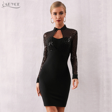 Adyce 2019 New Winter Long Sleeve Bodycon Bandage Dress Women Sexy Black Sequin Lace Club Celebrity Evening Party Vestidos
