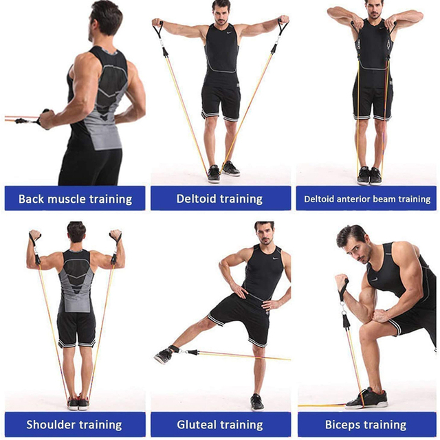 Exercise Resistance Bands Set Up to 115 lbs Fitness Stretch Workout Bands with 5 Fitness Tubes Home Gym Yoga Equipment Men Women 5