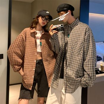 2020 Mens Fall Plaid Shirts for Couple Varsity Clothes Korean Fashion Oversized Button Up Blouse Loose Fit Long Sleeve Shirt Men button up long sleeve plaid shirt