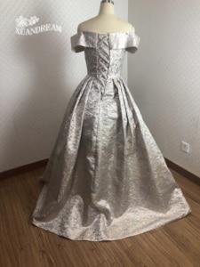Image 2 - 2019 Specail occasion print robe de soirée courte form long prom dinner gowns pleat puffy skirt  women prom dress XD 48