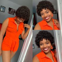 Sapphire krótkie kręcone ludzkie włosy peruka dla czarnych kobiet włosy brazylijskie Remy Afro kręcone fryzura Pixie tanie ludzkie włosy peruka darmowa wysyłka tanie tanio Remy włosy Jerry curl Brazylijski włosy Średnia wielkość Średni brąz Wszystkie kolory Swiss koronki Brazilian Human Hair Wigs Afor Kinky Curly Human Hair Wig