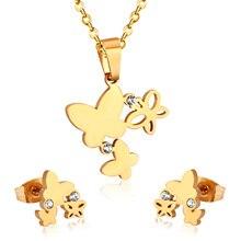 Luxukissids модный дизайн бабочка стиль ожерелье Комплект сережек для женщин Золотой Цвет кубический циркон ювелирные наборы
