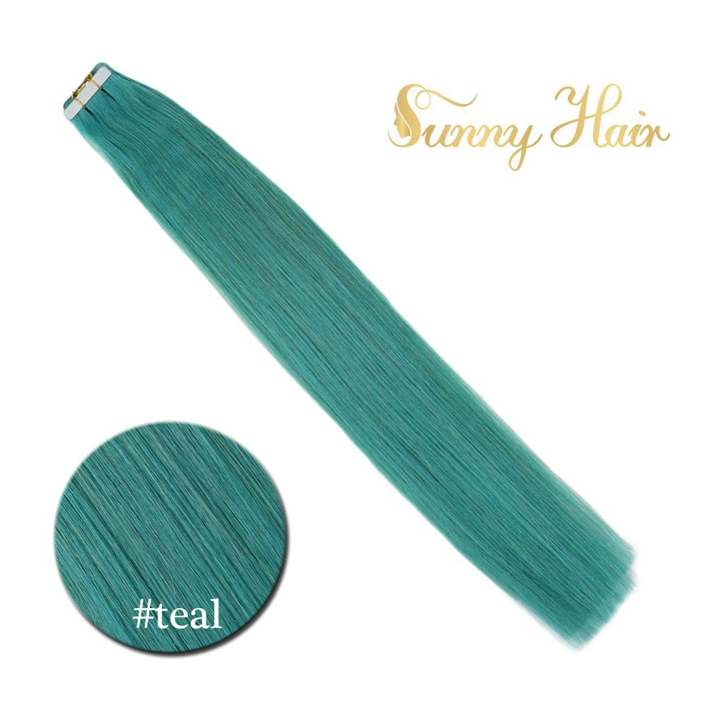 VeSunny Adhesive Tape In Hair Extensions Seamless 100% Real Human Hair Teal Green Machine Made Remy Tape On PU Hair 2.5gr/pc