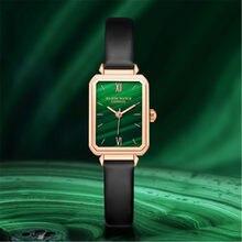 LISM-reloj cuadrado pequeño retro para mujer, reloj de moda con fondo verde, resistente al agua, simple, regalo de Navidad, nuevo