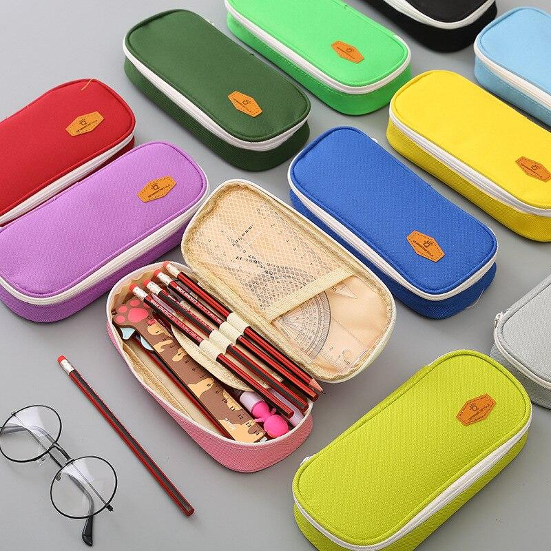 Mini School Pencil Case Cute Canvas Penal Pencilcase For Kids Multi Cosmetic Pen Bag Case Stationery Pouch Box Supplies Colorful