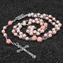 Necklace Woman Man Holy Jesus Imitation Pearl Bead Necklace Catholicism Christianity Rosaries Cross Virgin Mary Center(China)