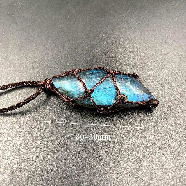 Natural crystal Labradorite stone gemstone pendant Moonstone Sunstone Pendant Divination spiritual meditation Jewelry Necklace 2