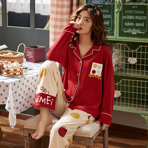 Image 2 - 뜨거운 판매 2 조각 코 튼 여성 잠 옷 세트 긴 소매 셔츠 + 바지 잠 옷 인쇄 여성 Homewear Loungewear